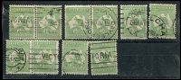 Lot 11 [1 of 2]:½d Green selection of Plate 1 right pane flaws, positions 2-3 pair, 3-4 pair, 6-2, 9, 13-14 pair, 22, 28, 28-34 pair, 32, 35-36 pair, 39, 55-56 pair & 59-60 pair. Positions 13 & 55 are catalogued flaws. Odd fault, useful group. (18)