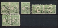 Lot 12 [2 of 2]:½d Green selection of Plate 2 left pane flaws, 2-3 pair, 7, 8, 11-12 (1st state) pair, 11-12 (3rd state) pair, 13-1, 21, 26-32 pair, 36, 38-39 pair, 48, 54-60 pair & 55-56 pair. Catalogued flaws on pos 7, 12-1,12-3, 26, 48 & 55. Odd fault, useful group. (18)