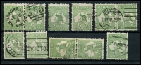 Lot 12 [1 of 2]:½d Green selection of Plate 2 left pane flaws, 2-3 pair, 7, 8, 11-12 (1st state) pair, 11-12 (3rd state) pair, 13-1, 21, 26-32 pair, 36, 38-39 pair, 48, 54-60 pair & 55-56 pair. Catalogued flaws on pos 7, 12-1,12-3, 26, 48 & 55. Odd fault, useful group. (18)