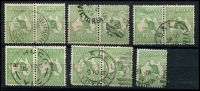 Lot 13 [2 of 2]:½d Green selection of Plate 2 right pane flaws, 1-3 strip, 6, 11-12 pair, 16-22 pair, 25, 30-36 pair, 39-40 pair, 43-44 pair 47-48 pair, 52-53 pair, 55-56 pair & 58. Catalogued flaws on pos 6, 36 & 48. Odd fault, useful group. (22)