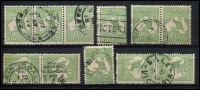 Lot 13 [1 of 2]:½d Green selection of Plate 2 right pane flaws, 1-3 strip, 6, 11-12 pair, 16-22 pair, 25, 30-36 pair, 39-40 pair, 43-44 pair 47-48 pair, 52-53 pair, 55-56 pair & 58. Catalogued flaws on pos 6, 36 & 48. Odd fault, useful group. (22)