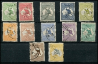Lot 8:½d to 5/- set with 'MELBOURNE/DE3/13' CTO cancels, ½d, 1d, 5d & 2/- with gum. A very nice set. (12)