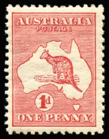 Lot 20 [2 of 3]:1d Red varieties 1 flaw west of Tasmania, Extra island (two Tasmania) and White flaw on Gulf of Carpentaria (mint), BW #2(B)fa,3(E)d,4(G)f, Cat $700.