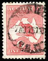 Lot 20 [3 of 3]:1d Red varieties 1 flaw west of Tasmania, Extra island (two Tasmania) and White flaw on Gulf of Carpentaria (mint), BW #2(B)fa,3(E)d,4(G)f, Cat $700.