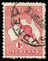 Lot 20 [1 of 3]:1d Red varieties 1 flaw west of Tasmania, Extra island (two Tasmania) and White flaw on Gulf of Carpentaria (mint), BW #2(B)fa,3(E)d,4(G)f, Cat $700.