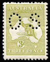 Lot 31:3d Olive-Green Die I Perf Small 'OS' BW #12Abc, light gum toning, MUH, Cat $1,250.