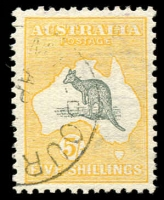 Lot 54:5/- Grey & Yellow with part Melbourne 'AP[15]/[13]