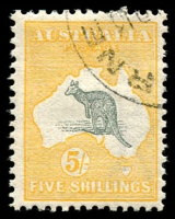 Lot 55:5/- Grey & Yellow with part Melbourne 24 cds, BW #42wa, hinged, Cat $600. CTO cancels on high values are very scarce, only 400 sets produced.