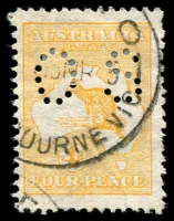 Lot 5 [1 of 2]:Small 'OS' Group ½d to 2/-, with three 1d Dies, 2d shades x2 & 4d shades x2, good used, Cat $1,685. (15)