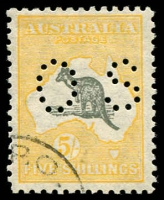 Lot 127 [1 of 2]:'OS' Group 6d to 5/-, incl extra 1/-, good used, 5/- Weeping Kangaroo (#45(V)l) is CTO. Cat $610. (6)