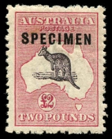 Lot 125:£2 Purple-Black & Rose Overprinted 'SPECIMEN' Type C overprint variety Sub-type 1 (shaved 'C') and Duty Plate flaws White spot below PO of POSTAGE [L13] BW #56xd(D)k, rough perfs, very well centred, Cat $1,000++. A rare combination of varieties of which just 15 examples were printed.