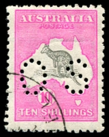 Lot 73 [1 of 2]:'OS' Group 2d to 10/-, incl extra 2d, 6d blue, 9d, 1/- & 2/- brown, good used, 5/- & 10/- are CTO, Cat $1,400. (16)