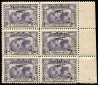 Lot 368:1931 Kingsford Smith 6d Violet variety Extra islands BW #143e in marginal block of 6, storage-related toned gum, MUH, Cat $225+.