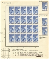 Lot 430 [2 of 3]:1956 7½d Olympics mainly mint annotated study of the flaws by Dr Gordon Ward includes Flaw on lip of torch by right star strip of 3 x3, Flaw joining right side of left star, Weak entry to right of 2 of fraction [ShB7/1,8/1]. Most flaws are in positional blocks or part sheets. Cat $430++ just for the noted varieties. (16 pages)