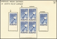 Lot 430 [3 of 3]:1956 7½d Olympics mainly mint annotated study of the flaws by Dr Gordon Ward includes Flaw on lip of torch by right star strip of 3 x3, Flaw joining right side of left star, Weak entry to right of 2 of fraction [ShB7/1,8/1]. Most flaws are in positional blocks or part sheets. Cat $430++ just for the noted varieties. (16 pages)