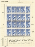 Lot 430 [1 of 3]:1956 7½d Olympics mainly mint annotated study of the flaws by Dr Gordon Ward includes Flaw on lip of torch by right star strip of 3 x3, Flaw joining right side of left star, Weak entry to right of 2 of fraction [ShB7/1,8/1]. Most flaws are in positional blocks or part sheets. Cat $430++ just for the noted varieties. (16 pages)