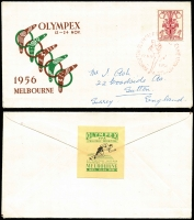 Lot 433 [2 of 13]:1956 Olympics 3 autographed VPA covers [1] Emil Zatopek with runner cancel, [2] Adolfo Consolini with discus cancel, [3] Pino Dordoni with walking cancel. (3)