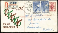 Lot 434 [4 of 6]:1956 Olympics set of 54 special cancels on addressed covers, mainly WCS, Female Runner is on set of 4 on air cover to UK, Main Stadium is on set of 4 on registered VPA cover to UK, Dais on APO registered cover to UK, Swimming on APO registered cover to UK. Plus five Olympex covers (regd x3) and cinderella block of 4 and single. (61 items)