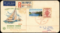 Lot 434 [5 of 6]:1956 Olympics set of 54 special cancels on addressed covers, mainly WCS, Female Runner is on set of 4 on air cover to UK, Main Stadium is on set of 4 on registered VPA cover to UK, Dais on APO registered cover to UK, Swimming on APO registered cover to UK. Plus five Olympex covers (regd x3) and cinderella block of 4 and single. (61 items)