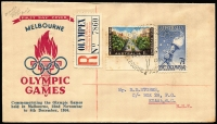 Lot 434 [6 of 6]:1956 Olympics set of 54 special cancels on addressed covers, mainly WCS, Female Runner is on set of 4 on air cover to UK, Main Stadium is on set of 4 on registered VPA cover to UK, Dais on APO registered cover to UK, Swimming on APO registered cover to UK. Plus five Olympex covers (regd x3) and cinderella block of 4 and single. (61 items)