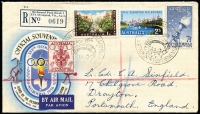 Lot 434 [1 of 6]:1956 Olympics set of 54 special cancels on addressed covers, mainly WCS, Female Runner is on set of 4 on air cover to UK, Main Stadium is on set of 4 on registered VPA cover to UK, Dais on APO registered cover to UK, Swimming on APO registered cover to UK. Plus five Olympex covers (regd x3) and cinderella block of 4 and single. (61 items)