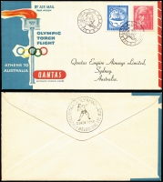 Lot 435 [2 of 12]:1956 Olympics Publicity 2/- blue & 2/- green range of FDCs inc covers made by Qantas, Royal normal & registered, Guthrie registered, WCS, Wide World, plus Official and private (no. 26) Aerogrammes, green & gold Cinderellas x4 diff, blue Cinderella sheet of 16 (some perf separation) and an Official programme. (36 items)