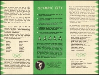 Lot 435 [4 of 12]:1956 Olympics Publicity 2/- blue & 2/- green range of FDCs inc covers made by Qantas, Royal normal & registered, Guthrie registered, WCS, Wide World, plus Official and private (no. 26) Aerogrammes, green & gold Cinderellas x4 diff, blue Cinderella sheet of 16 (some perf separation) and an Official programme. (36 items)