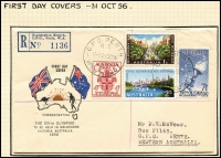 Lot 435 [1 of 12]:1956 Olympics Publicity 2/- blue & 2/- green range of FDCs inc covers made by Qantas, Royal normal & registered, Guthrie registered, WCS, Wide World, plus Official and private (no. 26) Aerogrammes, green & gold Cinderellas x4 diff, blue Cinderella sheet of 16 (some perf separation) and an Official programme. (36 items)