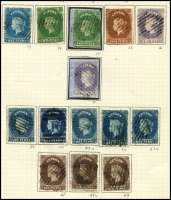 Lot 1389 [3 of 3]:1857-70 Chalons neatly mounted group, some SG numbers are not correct, 1/- imperf (cat £200) seem good. Handy group of generally attractive stamps. (17)