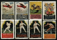 Lot 1012 [2 of 2]:Australia - South Australia: 1936 SA Centenary labels with Bradman, Plane x2, Flowers, Tennis x2 & Hurdler x2 (9)