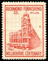 Lot 1013 [1 of 3]:Australia - Victoria: Melbourne Centenary labels featuring Melbourne Businesses in a variety of colours, some multiples, incl Ball & Welch, The Big Patterson, The Leviathan, Richmond Furnishing, Pears Furniture, Clauscens & Co, ES&A Bank, HJ Landon. A very interesting group in generally good condition. (13 items)