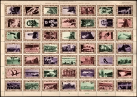 Lot 1015:Australia 1938 NSW Sesquicentenary: se-tenant sheet of 49 labels, the labels are very fine MUH, some perf separation, folded.