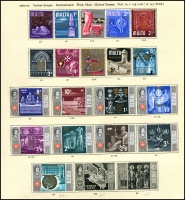 Lot 935 [2 of 6]:British Commonwealth QEII group on album pages with Guyana, 1968 Christmas to 1972 Christmas, Jamaica 1969 Coin Centenary to 1972 10th Anniversary, New Hebrides 1965 ITU to 1972 Christmas + 1975 10f Bull, Maldive Islands 1961 Coconuts to 1965 Quiet Sun, Malta 1958 Tchnical Education to 1972 Christmas, Montserrat 1963 Freedom from Hunger to 1972 Christmas. Nearly complete fresh mint. (100s)
