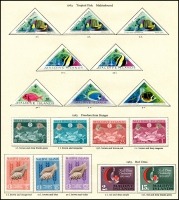 Lot 935 [3 of 6]:British Commonwealth QEII group on album pages with Guyana, 1968 Christmas to 1972 Christmas, Jamaica 1969 Coin Centenary to 1972 10th Anniversary, New Hebrides 1965 ITU to 1972 Christmas + 1975 10f Bull, Maldive Islands 1961 Coconuts to 1965 Quiet Sun, Malta 1958 Tchnical Education to 1972 Christmas, Montserrat 1963 Freedom from Hunger to 1972 Christmas. Nearly complete fresh mint. (100s)