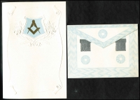 Lot 1041 [3 of 6]:Masonic Sample Cards: in special album produced by Bay Series, most cards in place with only a few being removed, plus a few Buffalo and OES samples. (39)