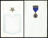 Lot 1041 [6 of 6]:Masonic Sample Cards: in special album produced by Bay Series, most cards in place with only a few being removed, plus a few Buffalo and OES samples. (39)