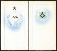 Lot 1041 [1 of 6]:Masonic Sample Cards: in special album produced by Bay Series, most cards in place with only a few being removed, plus a few Buffalo and OES samples. (39)