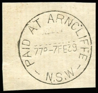 Lot 944:Arncliffe: 'PAID AT ARNCLIFFE/77D-7FE39/N.S.W' (sic) on piece. [From manufacturer's proof page]  PO 1/4/1878.