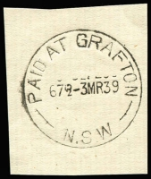 Lot 1000:Grafton: 'PAID AT GRAFTON/67½D-3MR39/N.S.W' (arcs 7,6) on piece. [From manufacturer's proof page.]  Renamed from Clarence River PO c.1849.