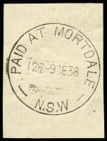 Lot 1044:Mortdale: 'PAID AT MORTDALE/12½D-9DE38/N.S.W' (sic) on piece. [From manufacturer's proof page.]  PO 15/11/1889.