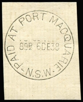 Lot 1064:Port Macquarie: 'PAID AT PORT MACQUARIE/89½D-6DE38/N.S.W' (sic) on piece. [From manufacturer's proof page.]  PO 1/8/1832.