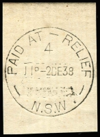 Lot 1068:Relief: 'PAID AT - RELIEF/4/11D-2DE38/N.S.W' (sic) on piece. [From manufacturer's proof page.]