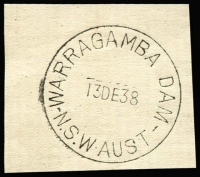 Lot 1124:Warragamba Dam (1): 'WARRAGAMBA DAM/13DE38/N.S.W·AUST' (arcs 1,1½) on piece. [This first opening type not recorded by Hopson & Tobin - From manufacturer's proof page.]  PO 1/12/1938; closed 18/3/1940.