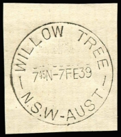 Lot 1136:Willow Tree (3): 'WILLOW TREE/745N-7FE39/N.S.W-AUST' on piece. [From manufacturer's proof page]  Renamed from Warrah PO 1/1/1878; closed 30/6/2014.