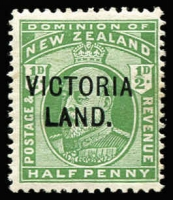 Lot 1811:1911-13 Victoria Land ½d green SG #A2, light stain at right, Cat £750.