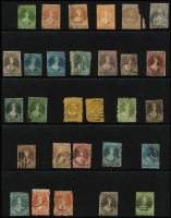 Lot 1774 [2 of 2]:Chalons selection of mint & used, incl 6d black-brown (#41, Cat £2,000) regummed, 1d vermilion Roul 7 (#48, Cat £800), 1d dull orange (#8, 1883 official reprint, Cat £4,000 as original) MNG, 1d orange-vermillion pelure paper (#81, Cat £2,500) damaged, 1/- deep green (#46, Cat £375). Good selection with some better items. Condition is quite mixed. (30)