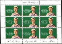 Lot 990 [2 of 5]:1980 Queen Mother's 80th Birthday: sheetlets of 9, Ascension x5, Bermuda x5, Cayman Islands x5, Gibraltar x5, Pictairn Islands x5, St Helena x5, Samoa x15, Solomon Islands x5, The Gambia x5 & Tristan da Cunha x5. (60 items)