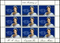 Lot 990 [3 of 5]:1980 Queen Mother's 80th Birthday: sheetlets of 9, Ascension x5, Bermuda x5, Cayman Islands x5, Gibraltar x5, Pictairn Islands x5, St Helena x5, Samoa x15, Solomon Islands x5, The Gambia x5 & Tristan da Cunha x5. (60 items)