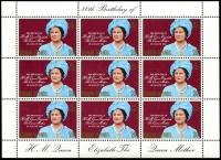 Lot 990 [4 of 5]:1980 Queen Mother's 80th Birthday: sheetlets of 9, Ascension x5, Bermuda x5, Cayman Islands x5, Gibraltar x5, Pictairn Islands x5, St Helena x5, Samoa x15, Solomon Islands x5, The Gambia x5 & Tristan da Cunha x5. (60 items)