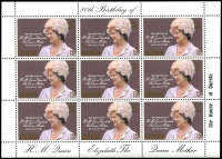 Lot 990 [5 of 5]:1980 Queen Mother's 80th Birthday: sheetlets of 9, Ascension x5, Bermuda x5, Cayman Islands x5, Gibraltar x5, Pictairn Islands x5, St Helena x5, Samoa x15, Solomon Islands x5, The Gambia x5 & Tristan da Cunha x5. (60 items)